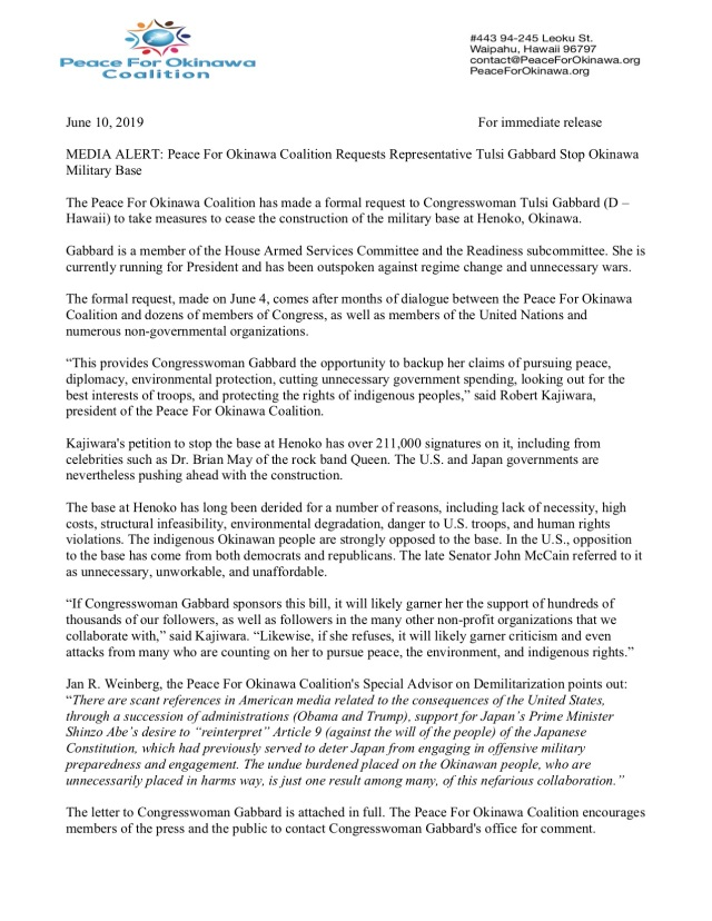 press release June 10 2019 Tulsi Gabbard Peace For Okinawa Coalition