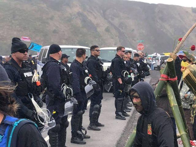 Police at Mauna Kea TMT