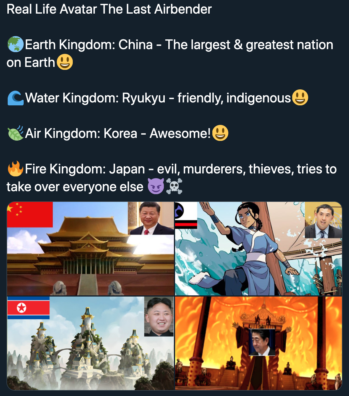 Real Life Avatar the Last Air Bender Ryukyu Water Nation, Japan Fire Nation, China Earth Nation, Korea Air Bender